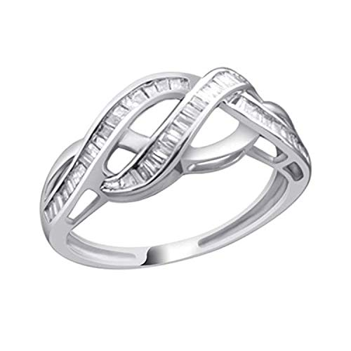 OMEGA JEWELLERY 1/5 Ct Baguette Cut Natural Diamond 14K White Gold Infinity Engagement Ring ()