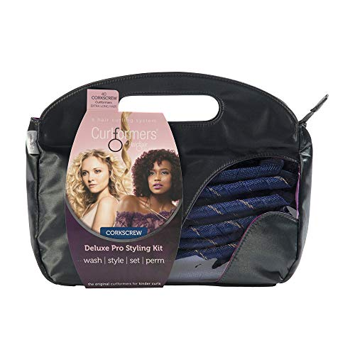Curlformers Hair Curlers Deluxe Range Corkscrew Curls Styling Kit, 40 No Heat Hair Curlers and 2 Styling Hooks for Extra Long Hair up to 22