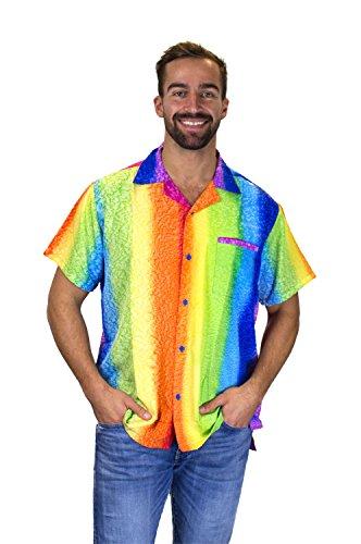 Shirt Woven Vertical Stripe (V.H.O Funky Hawaiian Shirt, Rainbow Vertical Stripes, Multicoloured, S)