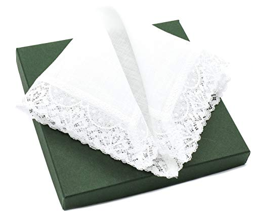 - Thomas Ferguson Women's Linen Lace Handkerchiefs (Set of 2) 10In Sq White