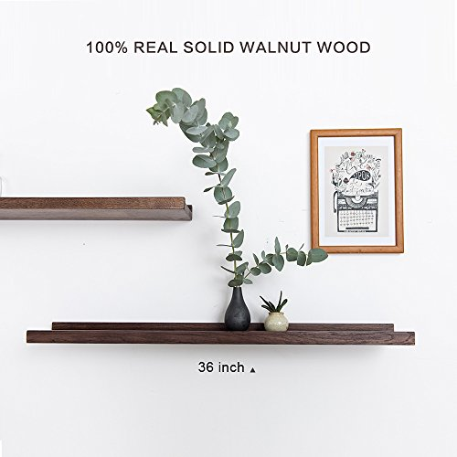 INMAN Floating Shelves Display Wooden Wall Mount Ledge Shelf Picture Record/Album Photo Ledge Small Hanging Kids Wall Bookshelf for Bedroom Kitchen Office Home Décor (Walnut, -