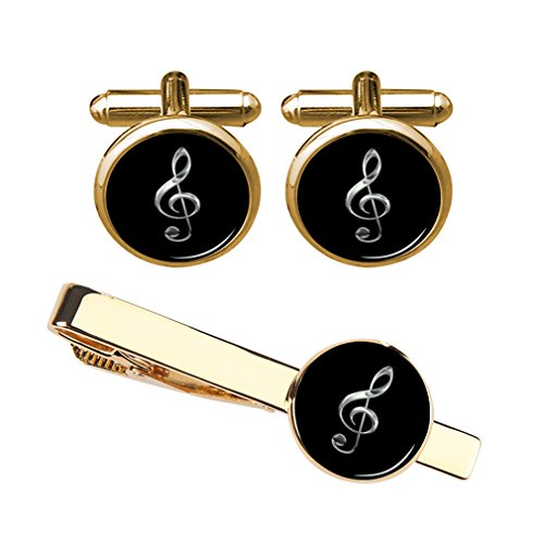 ZUNON Music Note Treble Cufflinks & Tie Clip Music Instrument Musician Arts Gift for Men Husband Fiancee (Gold Cufflink Tieclip Set)
