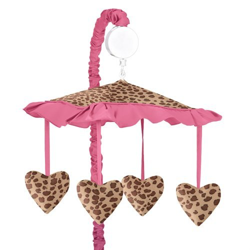 Cheetah Girl Pink and Brown Musical Crib Mobile by Sweet Jojo (Set Cheetah)