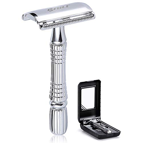 BAILI Classic Short Handle Double Edge Safety Razor Shaver Kit for Men Beard Women Hair Care +1 Swedish Blade +Mirrored Travel Case, Silver Color, BD176