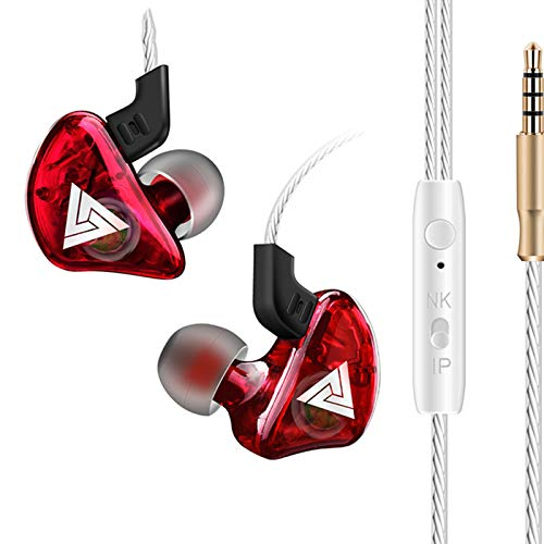 in-Ear Headphones Wired Earbuds Stereo Headphone Headset Earphone 3.5mm with Mic Super Bass Music Sports Earphone for Smartphone PC Tablet (Red)