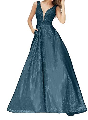 mit A Ausschnitt Festlichkleider Damen Promkleider Abendkleider Dunkel V Linie Blau Charmant Bodenlang Brautmutterkleider AE0WqwzBB