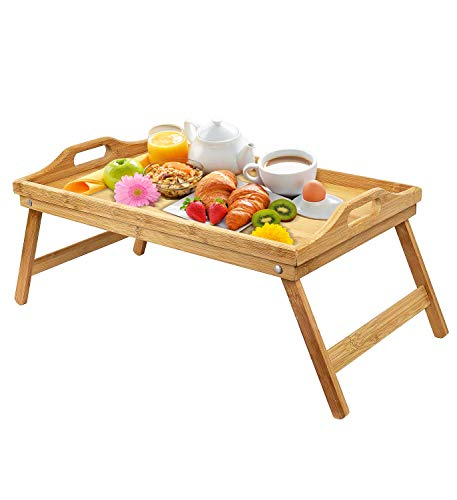 (Urbenfit Bed Tray Table Bamboo Portable Lightweight Breakfast Serving Trays with Folding Legs, Multipurpose Laptop Bed Tray for Eating, Reading, Working )