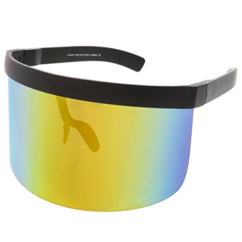 sunglassLA - Futuristic Oversize Shield Visor Sunglasses Flat Top Mirrored Mono Lens 172mm (Rainbow - Glasses Futuristic