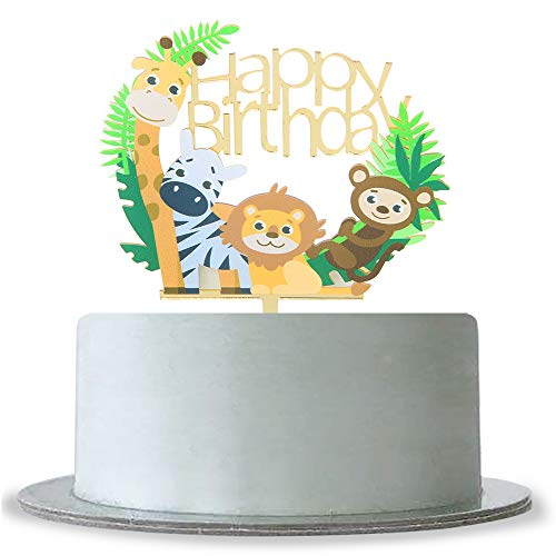 WeBenison Animal Theme Happy Birthday Cake Topper Baby Shower 1st Birthday Cake Topper Zoo Animals Kid's Birthday Party Decorations]()