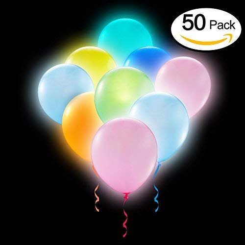 Party LED Balloons Lights 50 Pieces Balloons LED Assorted Colors Luminous Balloons Flashing Light ( Pack of 50 ) -