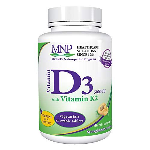 Michael's Naturopathic Programs Vitamin D3 with K2 - 5000 IU, 90 Chewable Tablets - Apricot Flavor - Skeletal & Immune System Support Supplement - Vegetarian, Kosher - 90 Servings (Best Vitamin D Tablets)