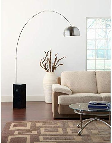 Lampada ad Arco con Stelo in Alluminio e Base in Marmo Rizzetti Nero