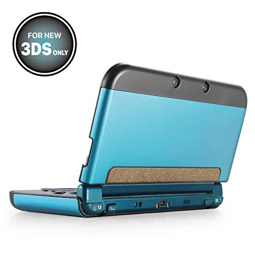 TNP New 3DS Case (Light Blue) - Plastic + Aluminium Full Body Protective Snap-on Hard Shell Skin Case Cover for New Nintendo 3DS 2015 - [New Modified Hinge-less Design] (Card Case 2015 Nintendo Game)
