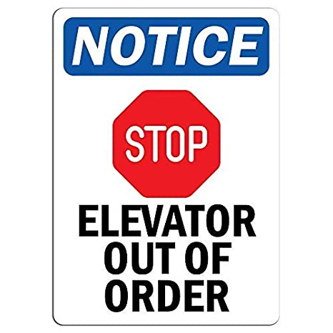 Señal de advertencia de ascensor fuera de orden con símbolo ...