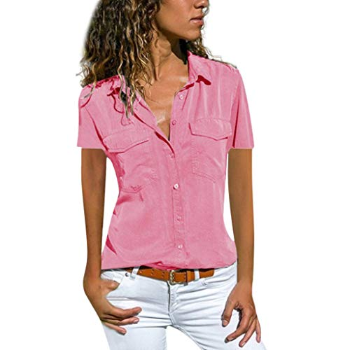TUSANG Women Tees Casual Solid Short Sleeve Turn Down Collar Pockets Buttons Down Shirt Tops Slim Fit Comfy Tunic(Pink,US-14/CN-3XL)