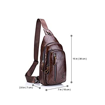 CHARMINER Sling Bag, Leather Chest Bag Crossbody Shoulder Business Backpack Outdoor