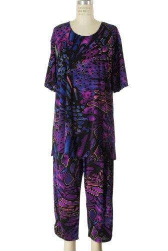 Jostar Women's Stretchy Capri Pants Set Short Sleeve Plus Print 3XL Purple Abstract