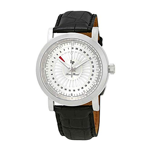 Lucien Piccard Men's 'Ruleta' Quartz Stainless Steel and Black Leather Casual Watch (Model: LP-40014-02S)