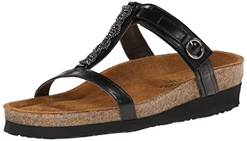 NAOT Women's Malibu Wedge Sandal, Black Madras, 40 EU/8.5-9 M US