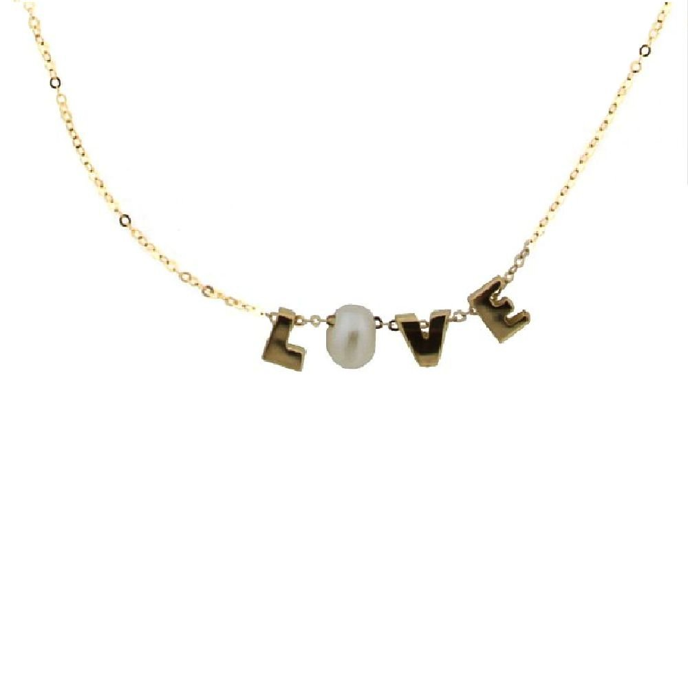 18K Yellow Gold Love Necklace with O Cultivated Cultivated Pearl 16 inches.