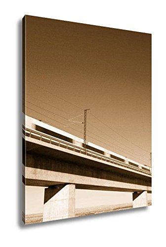 Ashley Canvas View Of A Highspeed Train Crossing A Viaduct In Roden Zaragoza Aragon Spain Ave, Wall Art Home Decor, Ready to Hang, Sepia, 20x16, AG5411293 by Ashley Canvas