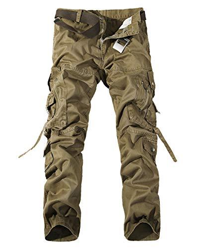Kuson Hommes Pantalons 100% Coton Cargo Sport Multi-Poches Epais Outdoor Lâche sans Ceinture