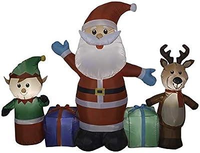 Gemmy 6.5' Long Airblown Santa/Reindeer/Elf Scene Christmas Inflatable