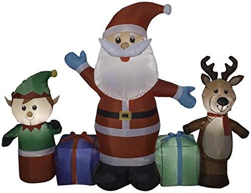 Gemmy 6.5' Long Airblown Santa/Reindeer/Elf Scene Christmas Inflatable -
