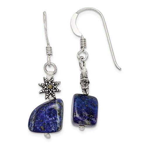 Beautiful Sterling silver 925 sterling Sterling Silver Lapis & Marcasite Earrings