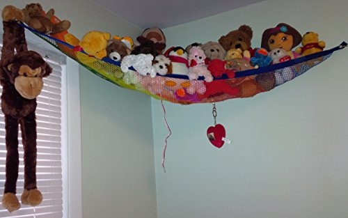 Deluxe Rainbow Pet Net Toy organizer Stuffed animal plush toy hammock