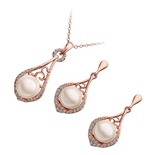 GWG 18K Rose Gold Plated Set of Pendant Necklace and Earrings Pearl Graced with Clear Crystals for Women