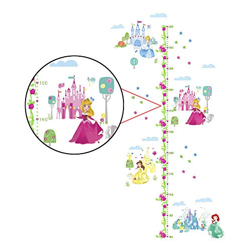 (decalmile Princess Castle Height Chart Wall Stickers Removable Measurement Wall Decals for Girls Room Baby Nursery Kids Bedroom Decor)