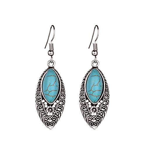 top0dream Earrings Bohemian Inlaid Artificial Turquoise Openwork Carved Drop Dangle Hook Ear Stud for Girls Teens Women - Silver