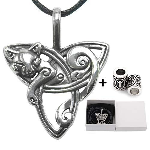 - GUNGNEER Celtic Cat with Triquetra Knot Pendant Necklace ♦ Celtic Zodiac Animal Symbol ♦ Irish Celtic Jewelry