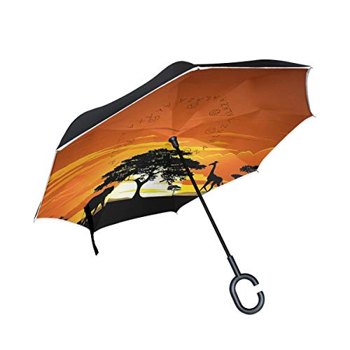 WBKCQB African Landscape Cars Reverse Open Folding Umbrellas, Windproof UV Protection Large Upside Down Straight Umbrella for Car Rain with C-Shaped Handle