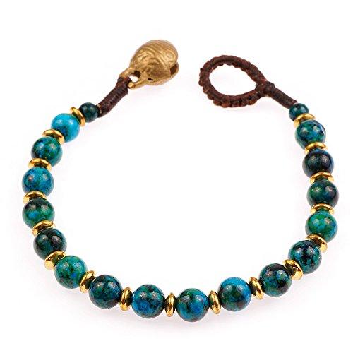 (Brass and Genuine Green Chrysocolla Carnelian Gemstones Beaded Bracelet )