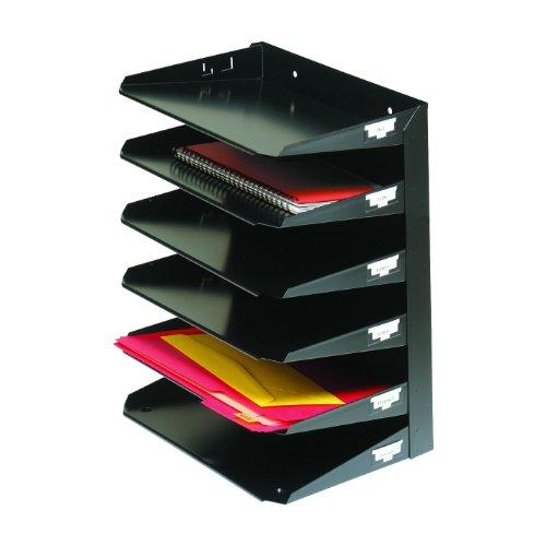 MMF Industries 6-Tier Letter-Size Horizontal Steel Desk Organizer, Black (2646HBK)