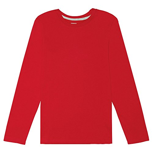 French Toast Big Boys Long Sleeve Crew Neck Tee, Red, 8 - Boys Red Crewneck Shirt