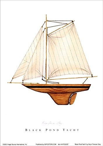 Buyartforless Black Pond Yacht by Karyn Frances Gray 14x11 Art Print Poster Nautical Wooden Sailboat White -