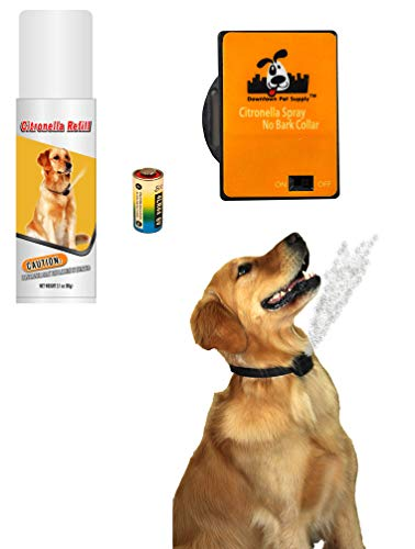 Downtown Pet Supply NO BARK Collar Citronella Spray Collar, Anti-Bark Deterrent for Dogs Kit - Safe, Effective, and Humane Dog Barking Control Collar (1 PK) from Downtown Pet Supply