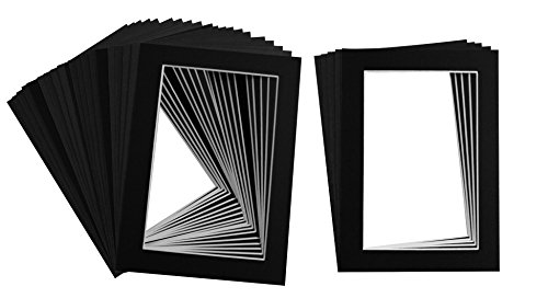 Golden State Art Pack of 25, Acid-Free Black Pre-Cut 5x7 Picture Mat for 4x6 Photo with White Core Bevel Cut Frame Mattes