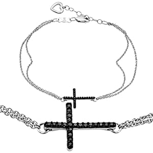 Sideways Black Diamond Cross Bracelet in Sterling Silver with Heart Clasp