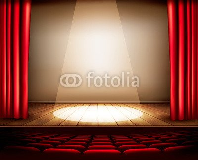 A Theatre Stage Red Curtain Seats Phone US Spotlight Vecto 70282124
