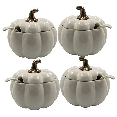 Better Homes and Gardens Off-White Figural Earthenware Pumpkin Soup Tureen, 4-Pack