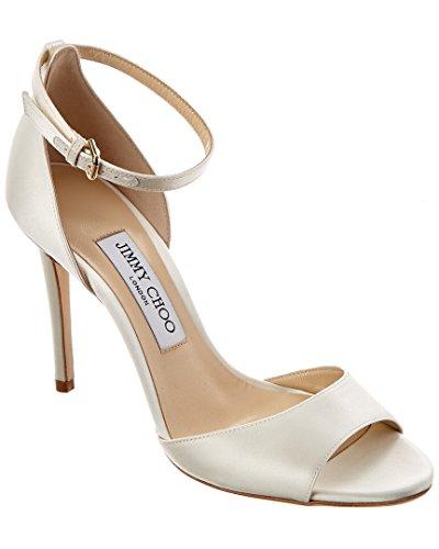 Jimmy Choo Gold Sandals (Jimmy Choo Tori 100 Satin Sandal, 37.5, White)