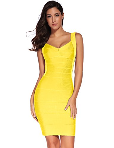 Backless Sling - Meilun Women's Backless Low-Cut Sling Bandage Cocktail Dress (Medium, Yellow)