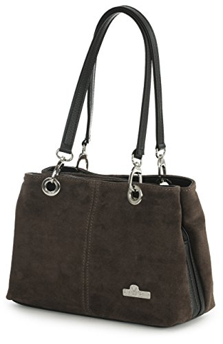 LiaTalia - Lush Italian Suede Womens Small Twin Top Multi Zip Pockets Shoulder Bag - HOLLY Coffee - Black