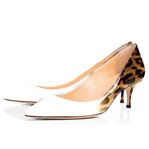 Heel Fermé Escarpins Bout EDEFS Kitten 5CM Sexy 6 10 Chaussures White Femme Pointu xYUxw4q1v