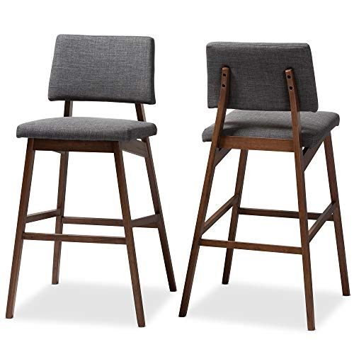(Baxton Studio Set of 2 152-9248-AMZ Bar Stools, Gray/Walnut)