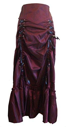 Wine Red - 3 Ways Frieda Long Sateen Corset Skirt - Size 8 by DangerousFX